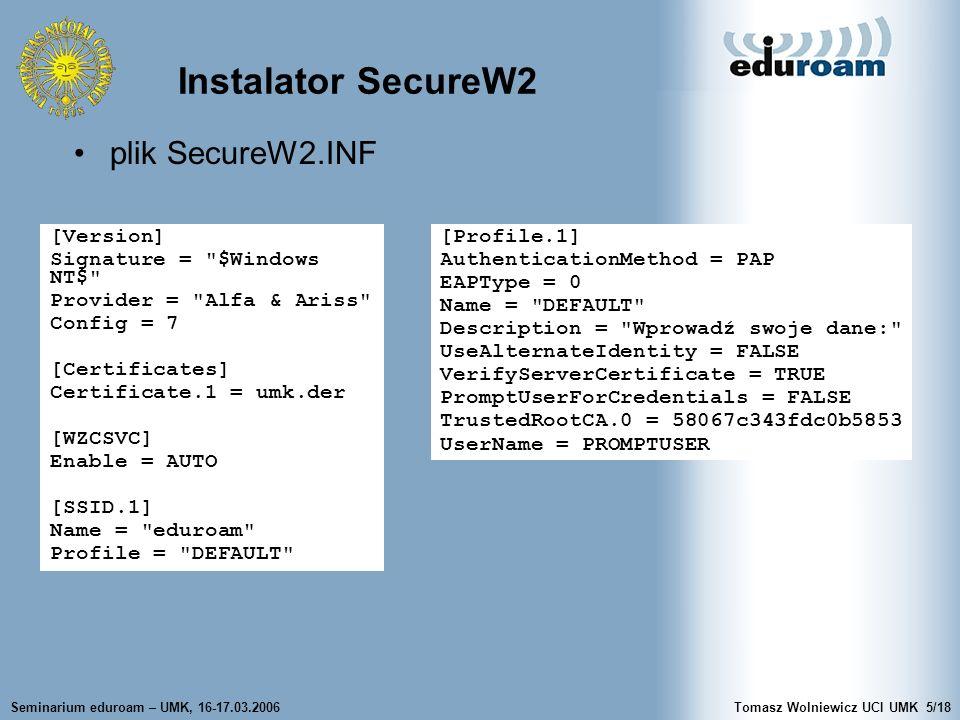 Instalator SecureW2 plik SecureW2.INF [Version]